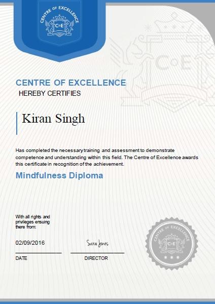 Mindfulness Certificate - Best Design Sertificate 2018