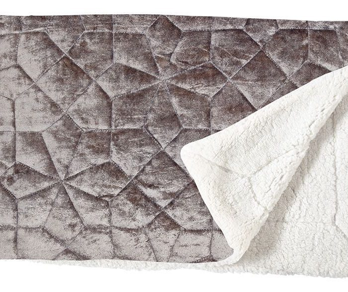 Silver Velvet Quilted Throw
