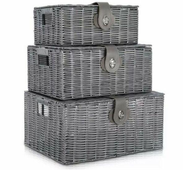 Resin Storage Hamper Basket Set of 3 Grey